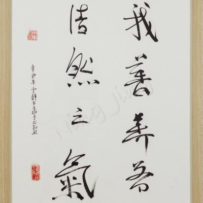 "Ning Jing - ""Qi, souffle intègre"" - style caoshu - calligraphie chinoise"
