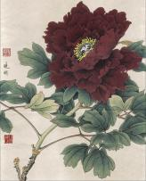 Pivoine peinture traditionnelle chinoise style gongbi